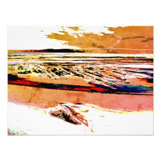 """Abstract Beach canvas"" orange sunset Canvas Print"