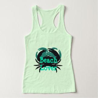 """Abstract Beach Lover & Crabs""_Multi-Green/Black Tank Top"