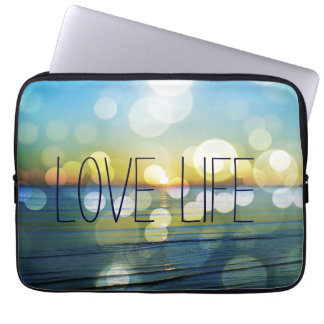 Abstract Beach Sunrise with Quote Computer Sleeve