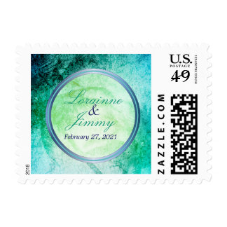 Abstract Beach Watercolor Wedding Postage