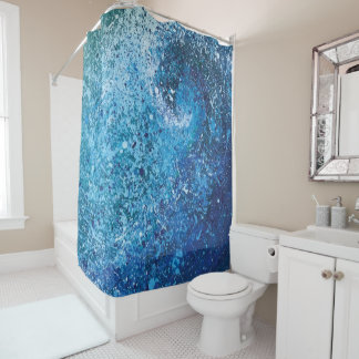Abstract Beach Wave Fine Art Painting Shower Curtain