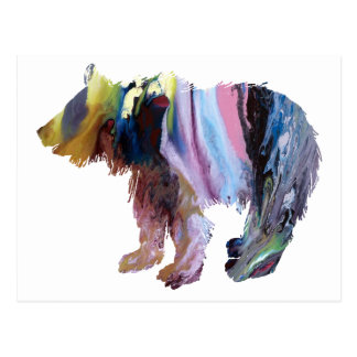 Abstract Bear cub Silhouette Postcard