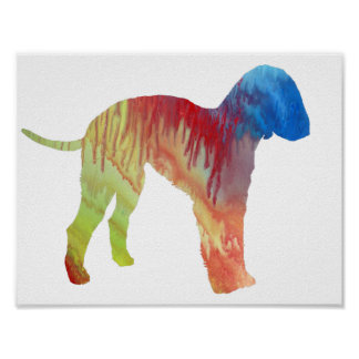Abstract Bedlington terrier Silhouette Poster