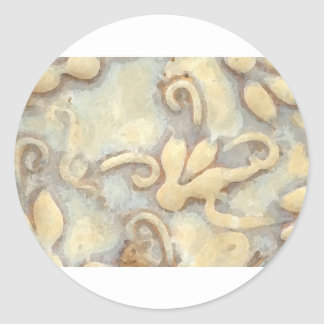 Abstract Beige Tile Pattern Round Sticker