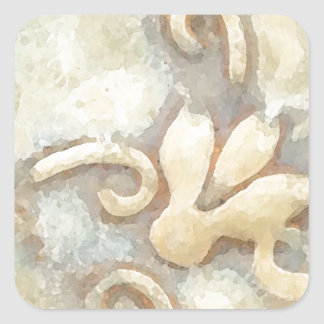 Abstract Beige Tile Pattern Square Sticker