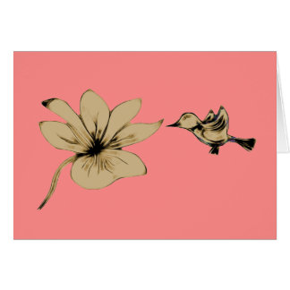 Abstract Bird And Flower Note Card