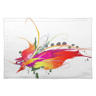 Abstract Bird of Paradise Paint Splatters Placemat