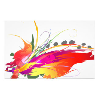 Abstract Bird of Paradise Paint Splatters Stationery