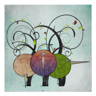 Abstract Birds and Trees Art Print Poster