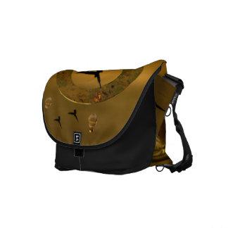 Abstract Birds Gold Ring Rickshaw Bag Messenger Bags