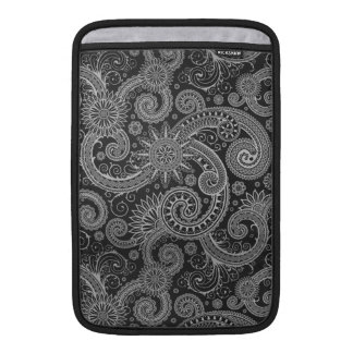 Abstract Black and Grey Floral Pattern Sleeve For MacBook Air