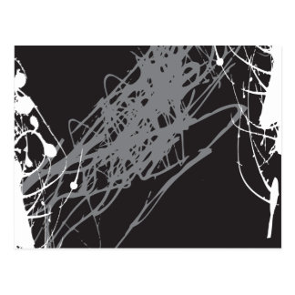 abstract black and white art postcard