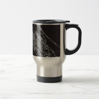 abstract black and white art stainless steel travel mug
