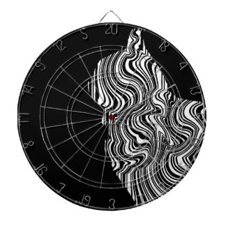 Abstract Black and White Cat Swirl monochrome one Dartboard