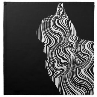 Abstract Black and White Cat Swirl monochrome one Napkin