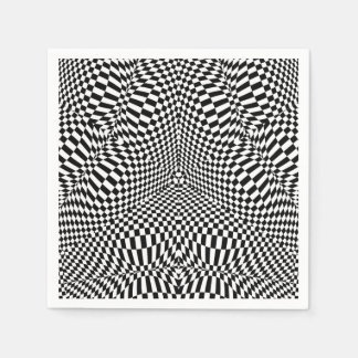 Abstract black and white checkered pattern paper napkins