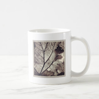 Abstract black and white foliage basic white mug