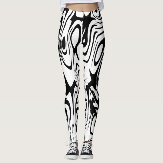 ABSTRACT BLACK AND WHITE LADIES LEGGINGS