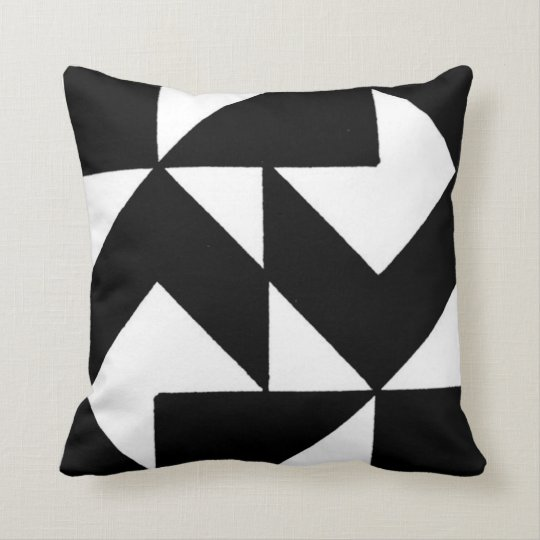 Abstract Black and White Number 3 Pillow