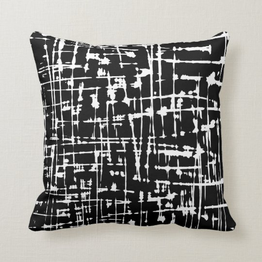 Abstract Black and White Pattern Cushion