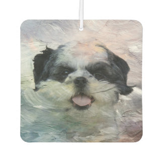 Abstract black and white Shih Tzu Car Air Freshener