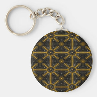 Abstract Black And Yellow Seamless Pattern Basic Round Button Key Ring