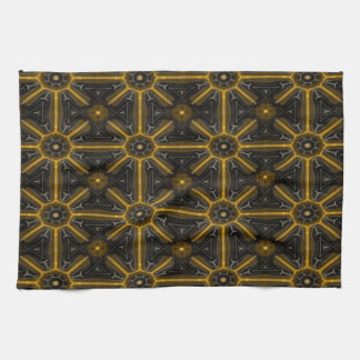 Abstract Black And Yellow Seamless Pattern Tea Towel