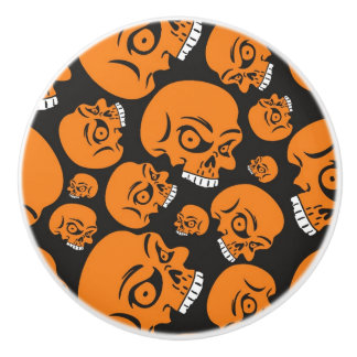 Abstract black background with skulls ceramic knob