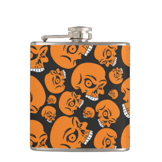 Abstract black background with skulls hip flask