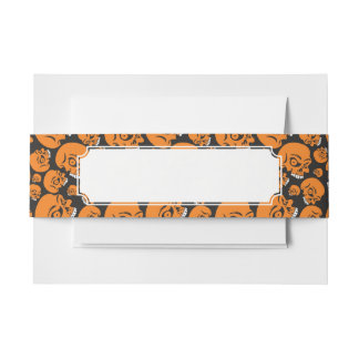Abstract black background with skulls invitation belly band