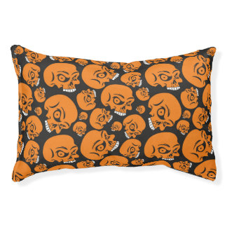 Abstract black background with skulls pet bed