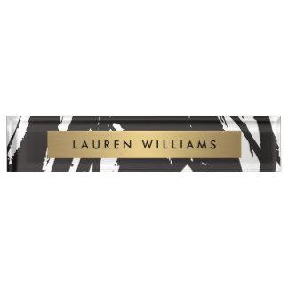 Abstract Black Brushstrokes Desk Nameplate