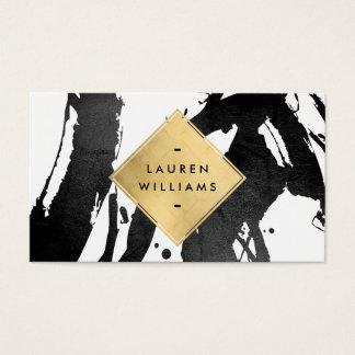Abstract Black Brushstrokes Faux Gold Foil Diamond