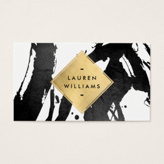 Abstract Black Brushstrokes Faux Gold Foil Diamond Business Card