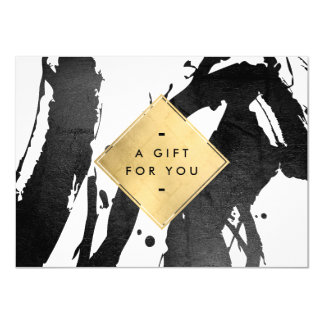 Abstract Black Brushstrokes Faux Gold Gift Card 11 Cm X 16 Cm Invitation Card