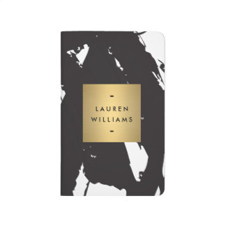 Abstract Black Brushstrokes Gold Name Logo Journal