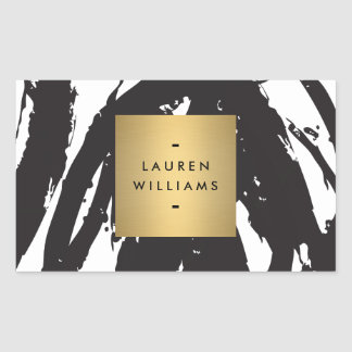 Abstract Black Brushstrokes Personalized Stickers