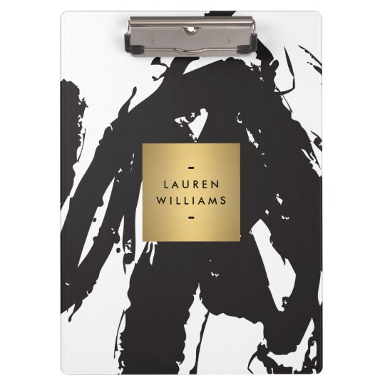 Abstract Black Brushstrokes with Gold Name Logo Clipboard