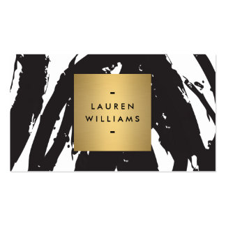Abstract Black Brushstrokes with Gold Name Logo Pack Of Standard Business Cards