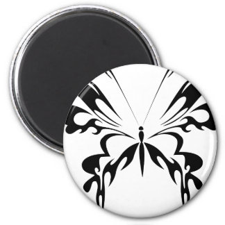 Abstract  Black Butterfly 6 Cm Round Magnet