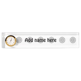 Abstract black circle pattern name plate