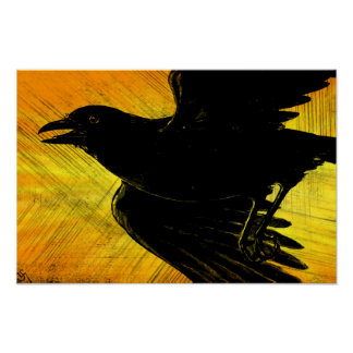 Abstract Black Crow Canvas Print