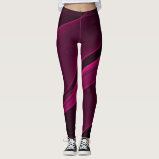 ABSTRACT BLACK DEEP PINK LEGGINGS
