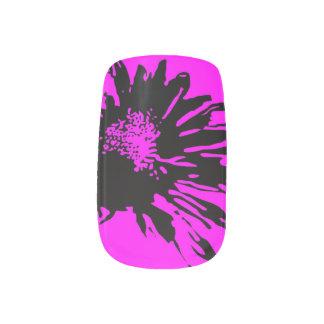 Abstract Black Flower on Fuchsia Minx Nail Art