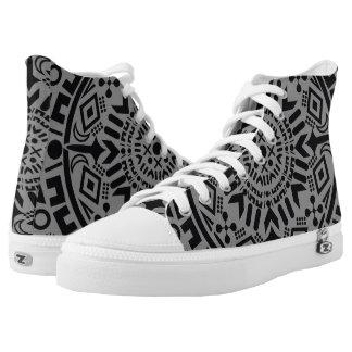 Abstract black geometric circle grey tribal printed shoes