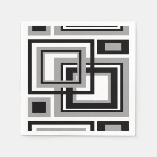 Abstract Black Gray Grey Geometric Square Pattern Paper Napkin
