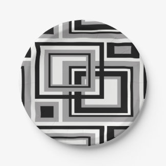 Abstract Black Gray Grey Geometric Square Pattern Paper Plate