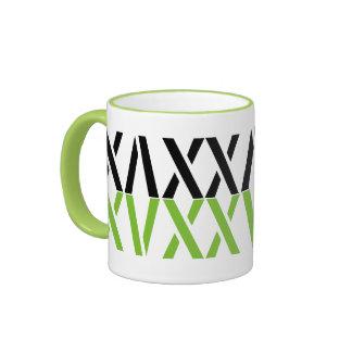 Abstract  Black Green White Geometric Pattern Ringer Mug