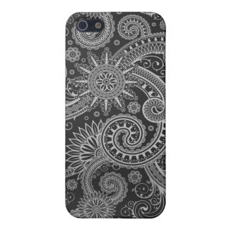 Abstract Black Grey Floral Pattern Case For The iPhone 5