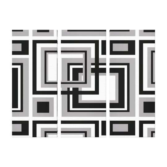 Abstract Black Grey Grey Geometric Square Pattern Canvas